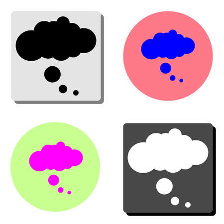 chat cloud dialog. simple flat vector icon illustration on four different color backgrounds