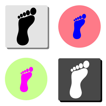foot. simple flat vector icon illustration on four different color backgrounds
