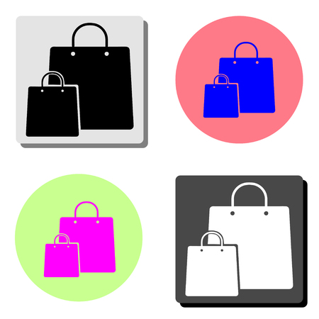 Shopping bag. simple flat vector icon illustration on four different color backgrounds  イラスト・ベクター素材