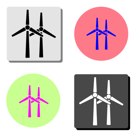 Windmill. simple flat vector icon illustration on four different color backgrounds