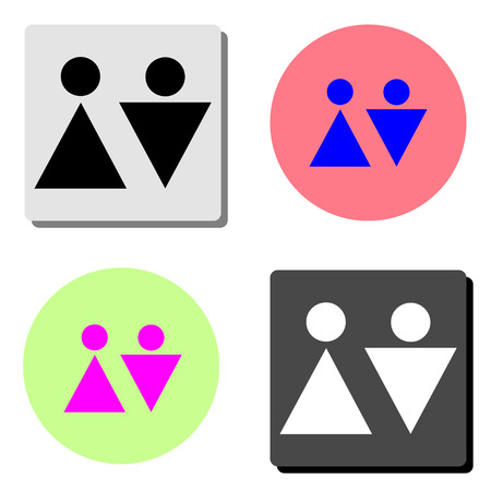 Man and lady toilet. simple flat vector icon illustration on four different color backgrounds