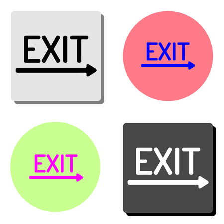 exit. simple flat vector icon illustration on four different color backgrounds