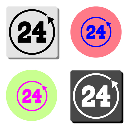 24 hours rotation. simple flat vector icon illustration on four different color backgrounds