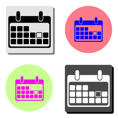 Calendar Icon. simple flat vector icon illustration on four different color backgrounds