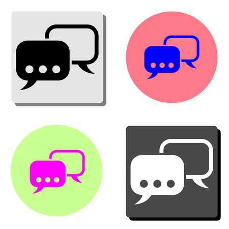 Chat Speech bubble. simple flat vector icon illustration on four different color backgrounds