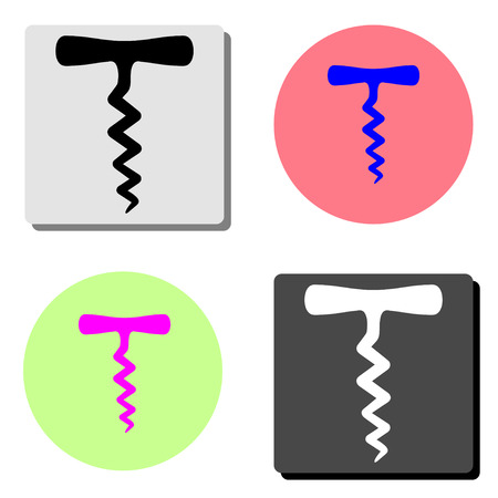 corkscrew. simple flat vector icon illustration on four different color backgrounds