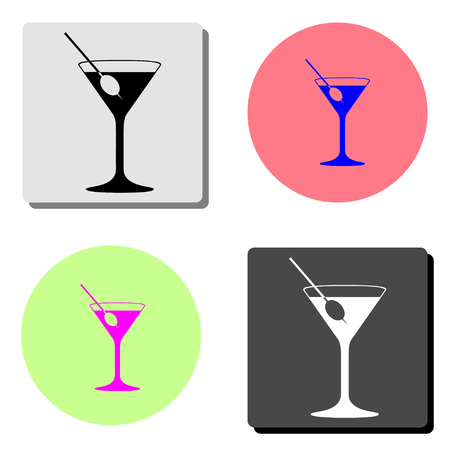 cocktail. simple flat vector icon illustration on four different color backgrounds  イラスト・ベクター素材