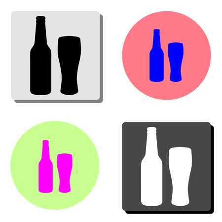 Bottle and glass of beer. simple flat vector icon illustration on four different color backgrounds