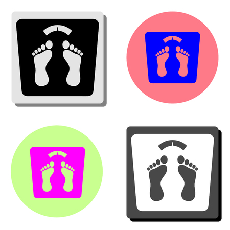 bathroom weight scale. simple flat vector icon illustration on four different color backgrounds  イラスト・ベクター素材