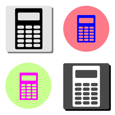 Calculator. simple flat vector icon illustration on four different color backgrounds  イラスト・ベクター素材