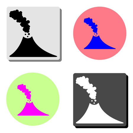 volcano. simple flat vector icon illustration on four different color backgrounds