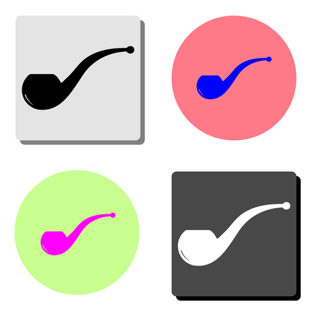 Smoke pipe. simple flat vector icon illustration on four different color backgrounds