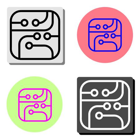 microcircuit. illustration d'icône vecteur plat simple sur quatre arrière-plans de couleurs différentes Vecteurs