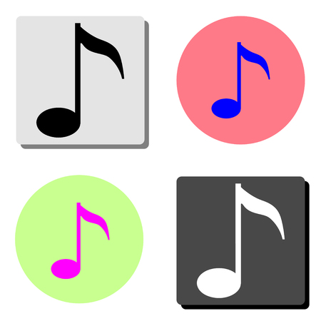 Music note. simple flat vector icon illustration on four different color backgrounds
