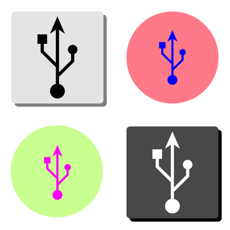 Usb icon. simple flat vector icon illustration on four different color backgrounds