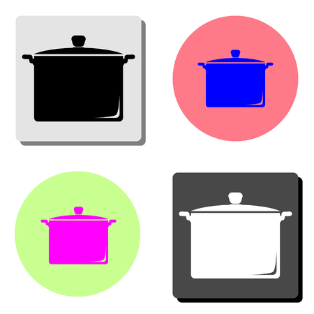 Saucepan. simple flat vector icon illustration on four different color backgrounds 일러스트