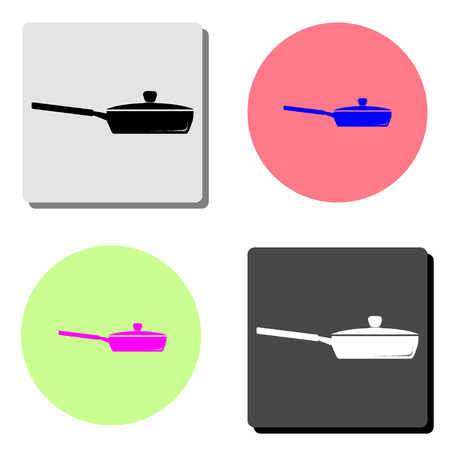 Frying pan. simple flat vector icon illustration on four different color backgrounds  イラスト・ベクター素材