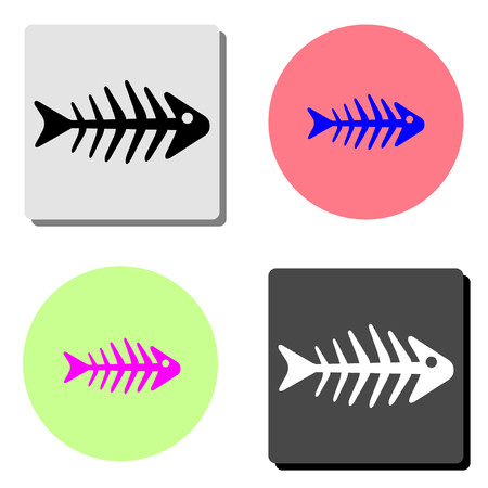 fishbone. simple flat vector icon illustration on four different color backgrounds