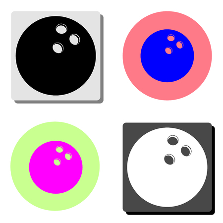 Bowling ball. simple flat vector icon illustration on four different color backgrounds  イラスト・ベクター素材