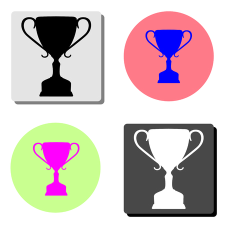 Winner trophy cup. simple flat vector icon illustration on four different color backgrounds