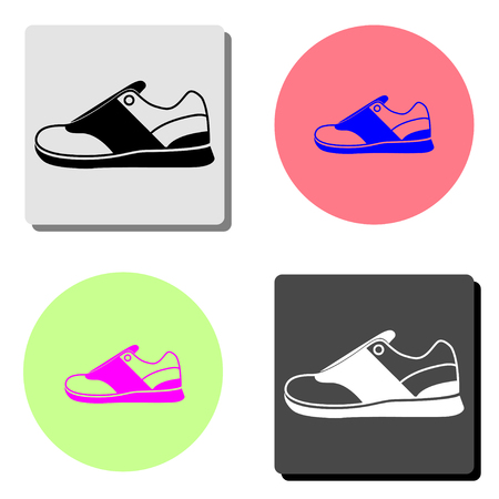 Sneakers. simple flat vector icon illustration on four different color backgrounds