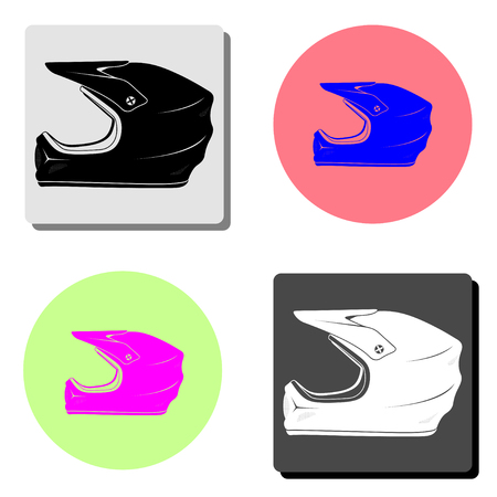 Motorcycle Helmet. simple flat vector icon illustration on four different color backgrounds