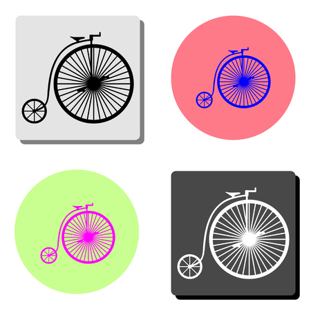 Vintage bicycle. simple flat vector icon illustration on four different color backgrounds Çizim