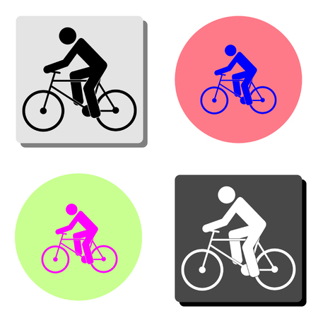 cyclist. simple flat vector icon illustration on four different color backgrounds 向量圖像