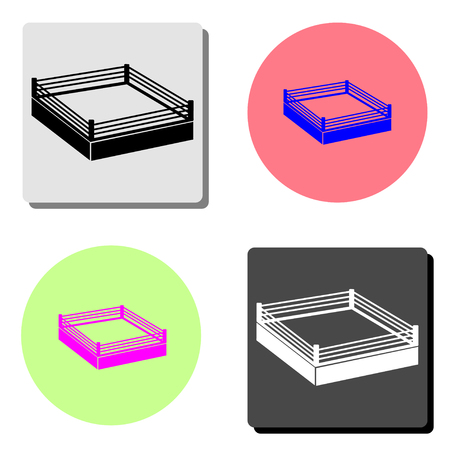 boxing ring. simple flat vector icon illustration on four different color backgrounds Ilustración de vector