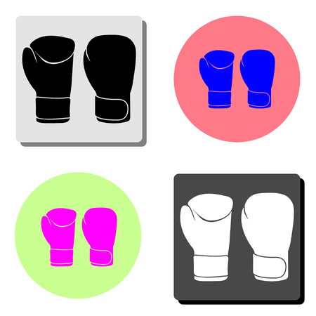 Boxing gloves. simple flat vector icon illustration on four different color backgrounds  イラスト・ベクター素材