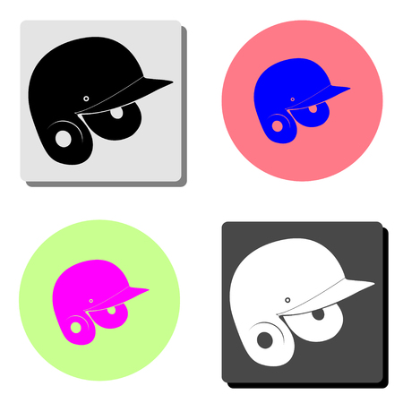 Baseball helmet. simple flat vector icon illustration on four different color backgrounds