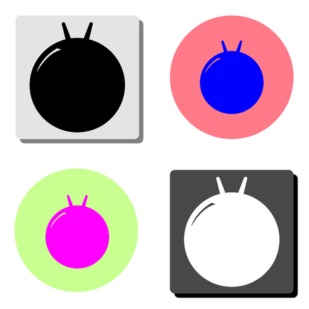 fitness ball kangaroo. simple flat vector icon illustration on four different color backgrounds