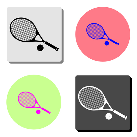 Tennis racket and ball. simple flat vector icon illustration on four different color backgrounds  イラスト・ベクター素材