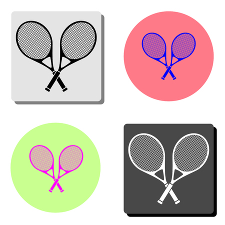 Tennis. simple flat vector icon illustration on four different color backgrounds  イラスト・ベクター素材