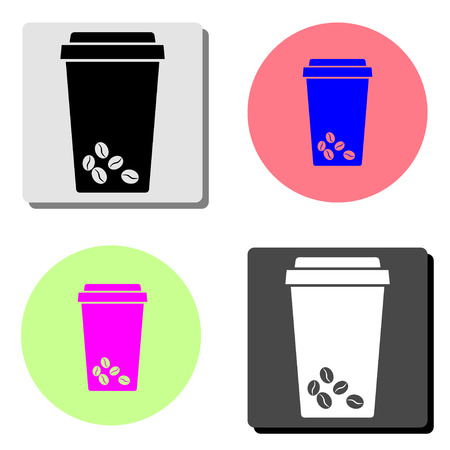 take away plastic coffee cup. simple flat vector icon illustration on four different color backgrounds