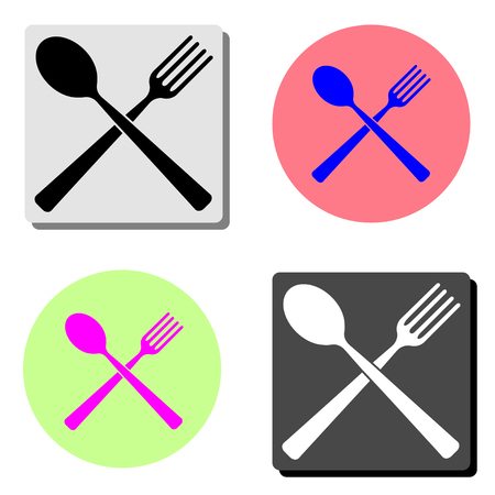 Spoon and fork. simple flat vector icon illustration on four different color backgrounds  イラスト・ベクター素材