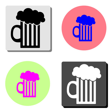 beer. simple flat vector icon illustration on four different color backgrounds
