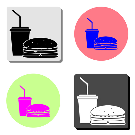 Fast Food. simple flat vector icon illustration on four different color backgrounds