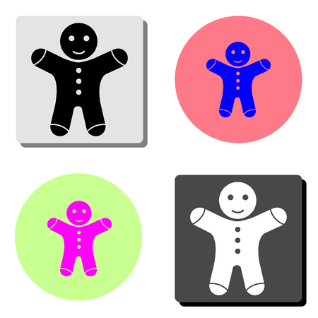 Gingerbread man. simple flat vector icon illustration on four different color backgrounds  イラスト・ベクター素材