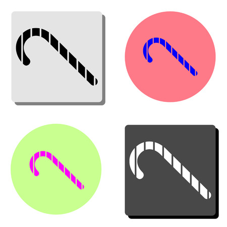Christmas Candy Cane. simple flat vector icon illustration on four different color backgrounds