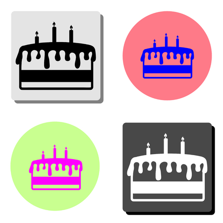 Birthday cake. simple flat vector icon illustration on four different color backgrounds