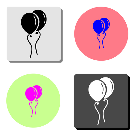 Air Balloon. simple flat vector icon illustration on four different color backgrounds