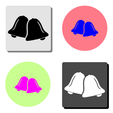 Bell. simple flat vector icon illustration on four different color backgrounds