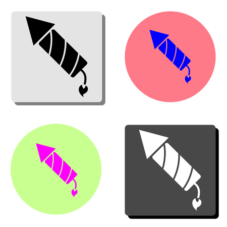 fireworks rocket. simple flat vector icon illustration on four different color backgrounds  イラスト・ベクター素材