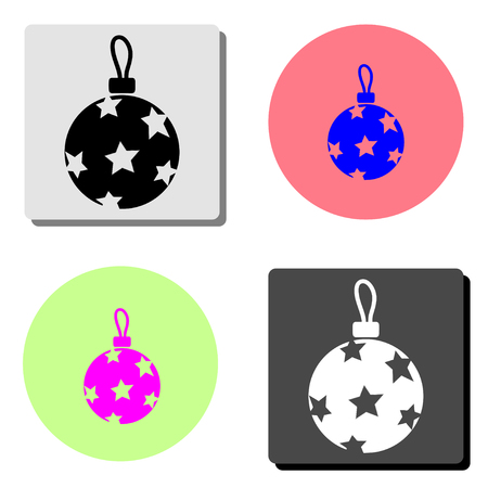 christmass ball. simple flat vector icon illustration on four different color backgrounds