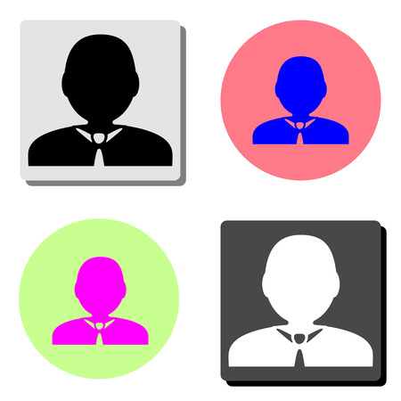 Default avatar profile. simple flat vector icon illustration on four different color backgrounds