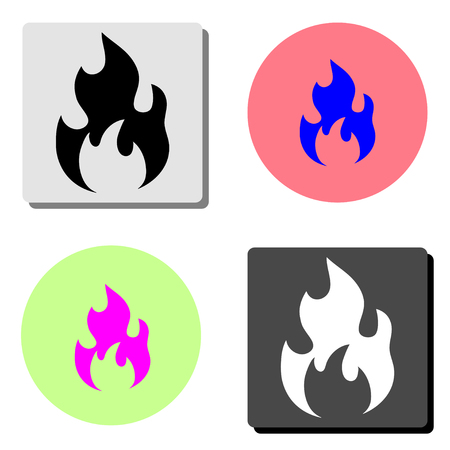 Fire. simple flat vector icon illustration on four different color backgrounds