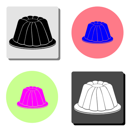 Jelly pudding. simple flat vector icon illustration on four different color backgrounds
