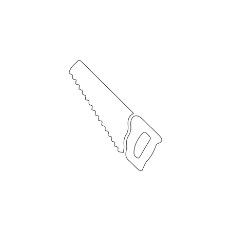 Hacksaw or hand saw. simple flat vector icon illustration. outline line symbol - editable stroke