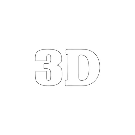 3D. simple flat vector icon illustration. outline line symbol - editable stroke Illustration